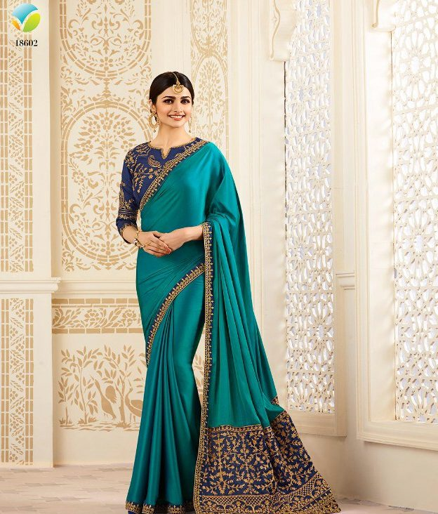 Moss Green Saree with Deep Navy Embroidered Blouse