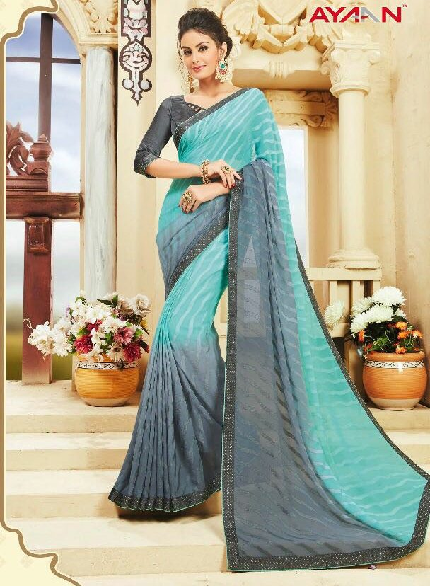 Baby Blue and Moss Green Two Shaded Saree