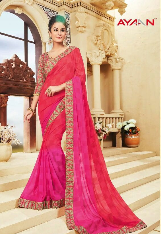 Hot Pink Dusty Rose Two Shaded Saree