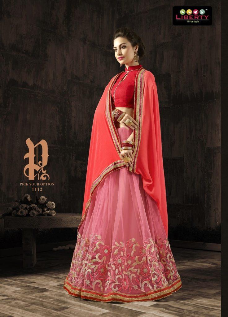 Red Rose Double Shaded Lehenga Style Saree
