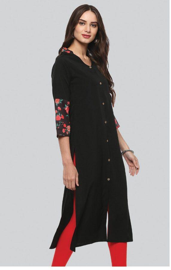 Collar Neck Designer Black Long Kurti
