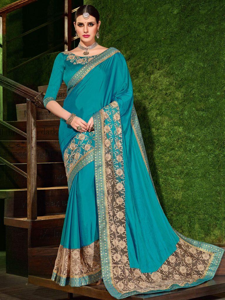 Shop onlineAqua Colour Heavy Designer Wedding Party Wear Saree at SHAHiFits