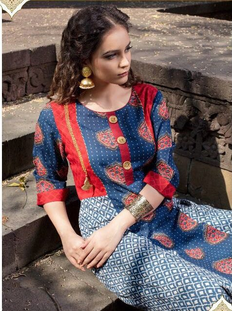 Royal Blue with Hot Maroon Gown Style Long Kurti