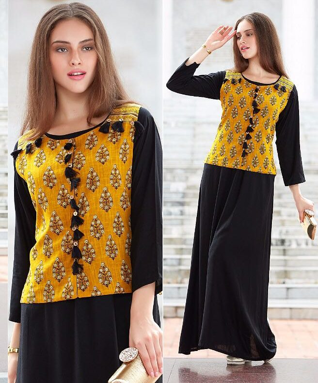 Black Gown Style Long Designer Kurti with Lime Yellow Top