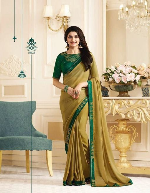 Royal Designer Embroidered with Contrast Blouse and contrast Green Border Bollywood Saree