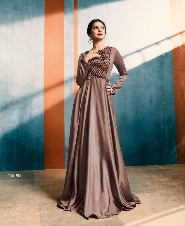 Designer Party Wear Gown in Chocolate Colour - Shahi Fits