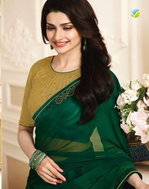 Royal Style Prachi Desai StyleSaree in Green with Golden Blouse