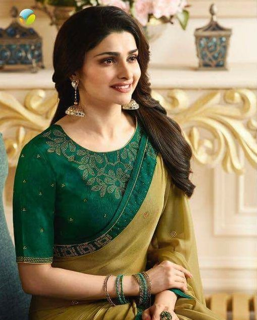 Olive Green Prachi Desai Designer Saree With Forest Green Blouse