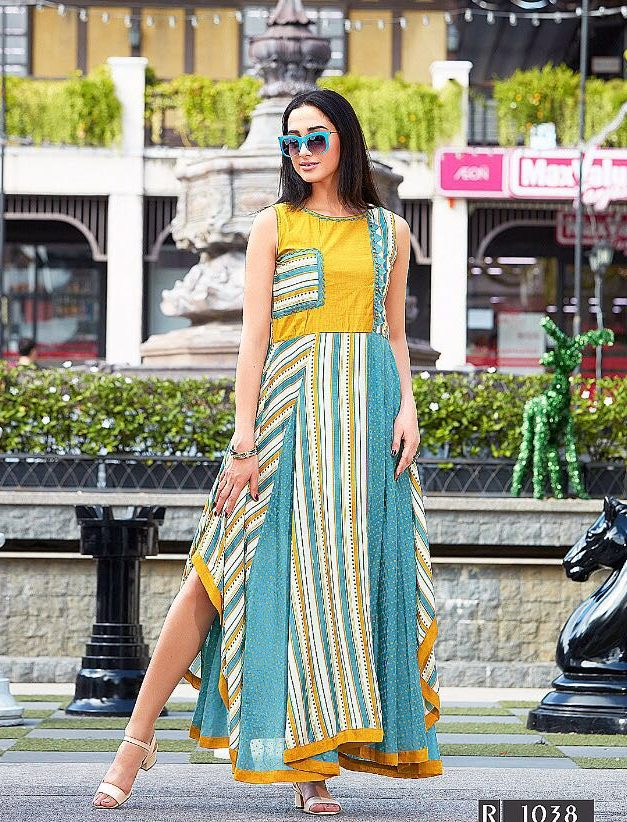 Designer Alarakali Digital Style Long Kurti in Yellow and Blue Colour