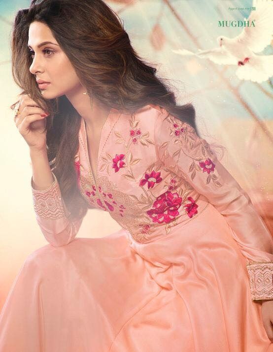 New Fashion Designer Party Wear Embroidered Gown in Pink Colour