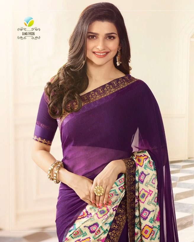 Royal Designer Prachi Desai Saree in Redviolet with Printed Border