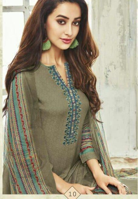 Mehendi Colour Royal Designer Winter Salwar Suits