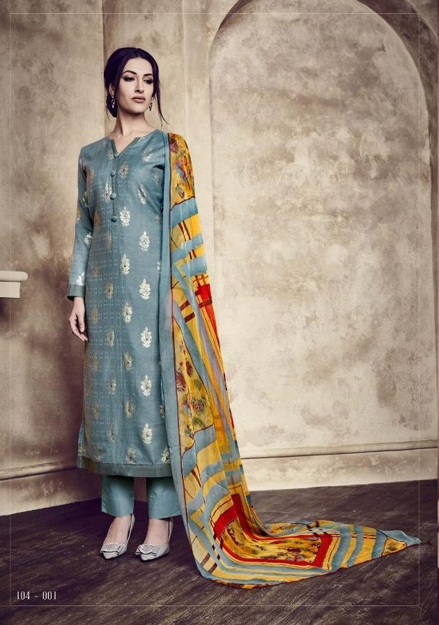 Slate Colour Digital Printed Salwar Kurta With Digital Printed Dupatta