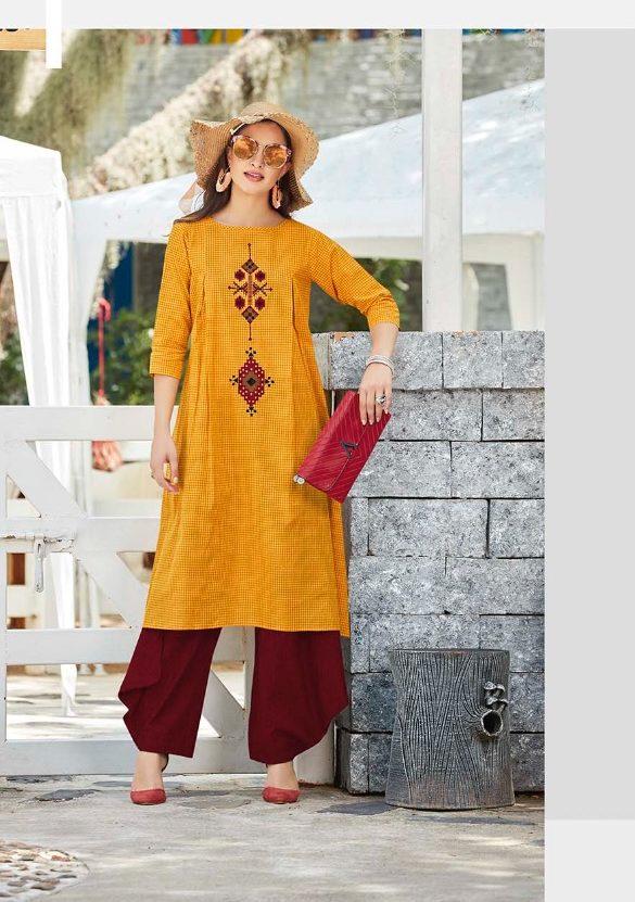 New Style Designer Kurti in yellow colour