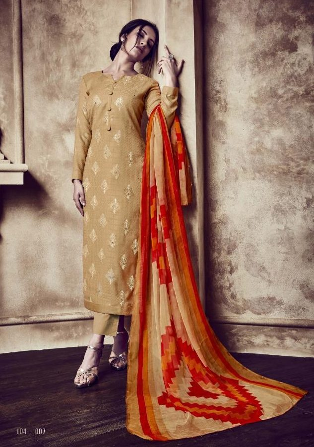 Beige Colour Digital Printed Salwar Kurta Digital Printed Dupatta