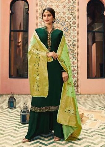 Heavy Embroidered Georgette Salwar Suits with Banarsi Jacquard Dupatta