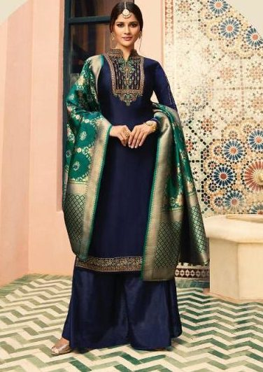 Navy Blue Colour Heavy Embroidered Punjabi Salwar Kameez with Heavy Dupatta