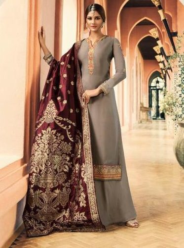 Heavy Embroidered Silver Colour Salwar Suits with Banarsi Dupatta