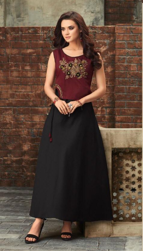 Maroon Colour New Attitude Designer Long Kurti
