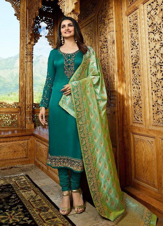Heavy Embroidered Prachi Desai Style Salwar Suits with Banarsi Dupatta in jade Colour