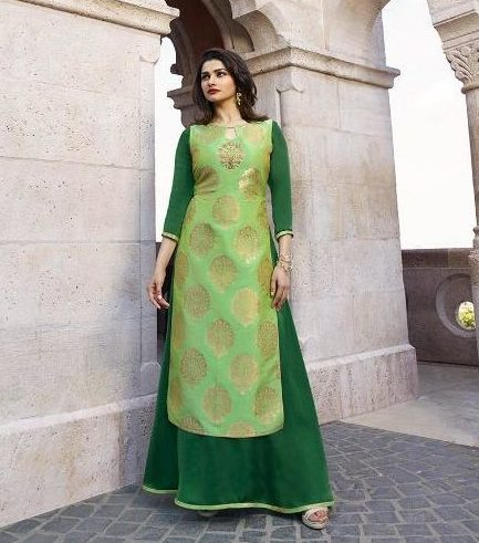 Palegreen and Green Inner Gown in Prachi Desai Style