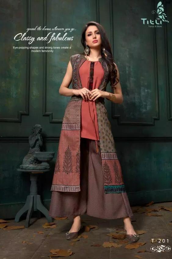 Pragya Style Designer Kurti in Carmine Colour