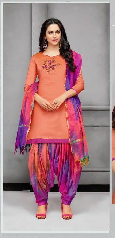 New Fancy Paliala Salwar Suits In Orange Colour