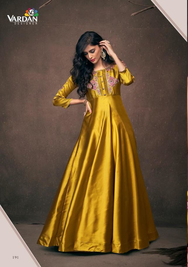 New Fancy Printed Designer Straight Long Kurti In Golden Colour