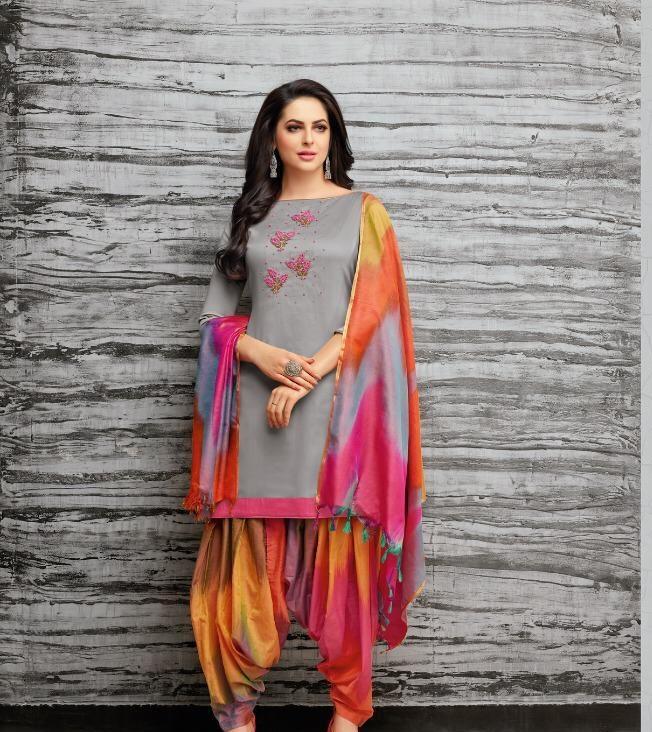 New Fancy Patiala Salwar Suits In Slate Clour