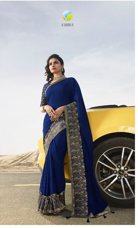 New Fancy Embroidered Saree In Blue Colour