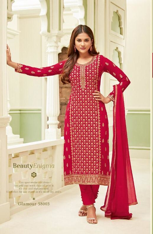 New Fancy Heavy Embroidered Salwar suits with Dupatta In Red Colour
