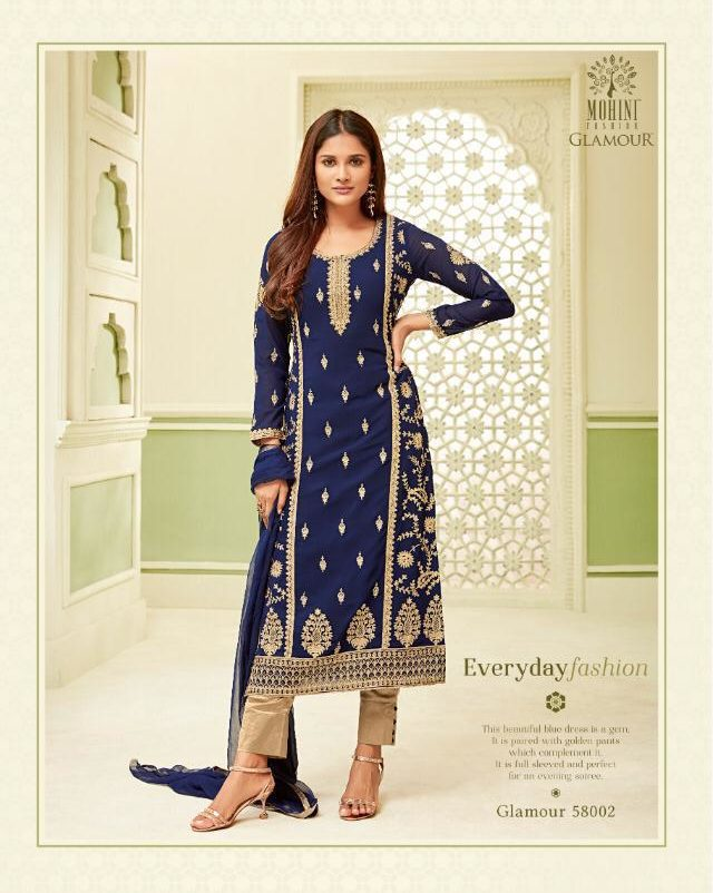 New Fancy Heavy Embroidered Salwar Suits In Navy Blue Colour