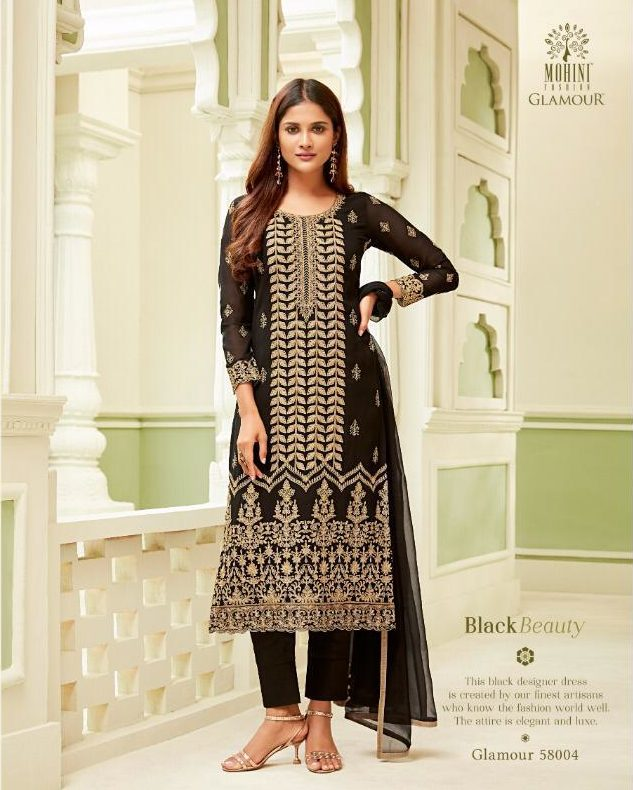 New Fancy Heavy Embroidered Salwar Suits With Dupatta In Black Colour