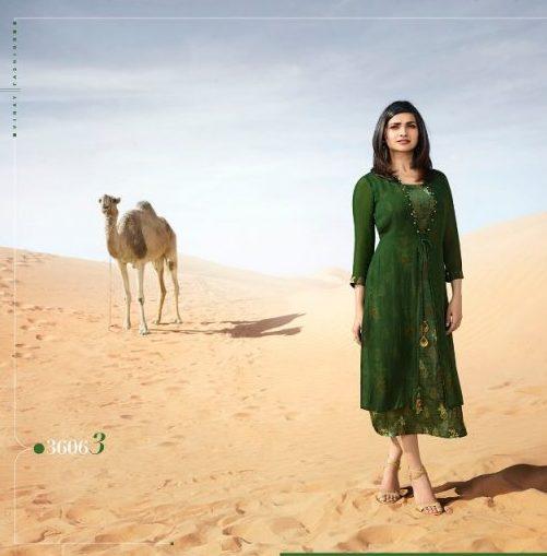 New Fancy Prachi Desai Style Kurti In Green Colour