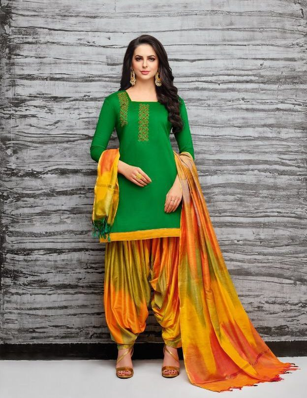 New Fancy Paliala Salwar Suits In Green Colour