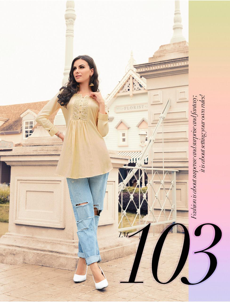 New Fancy Printed Designer Top In Light Colour