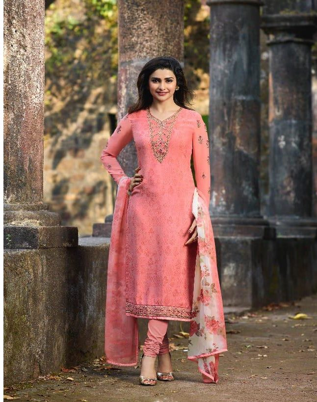 New Fancy Heavy Designer Printed Salwar Suits In Pink Colour
