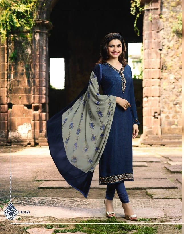 New Fancy Heavy Designer Printed Salwar Suits In Navy Blue Colour