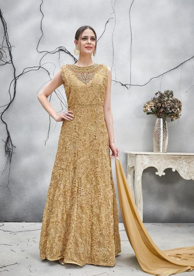 Party Wear Beige Colour Gown