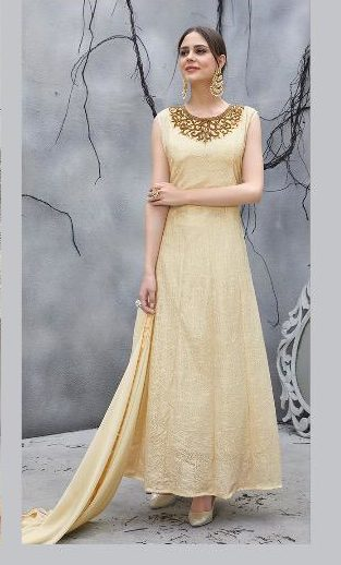 Beige Colour Party Wear Gown