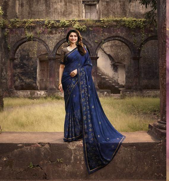 Prachi Desai Style Steel Blue Sequence Saree