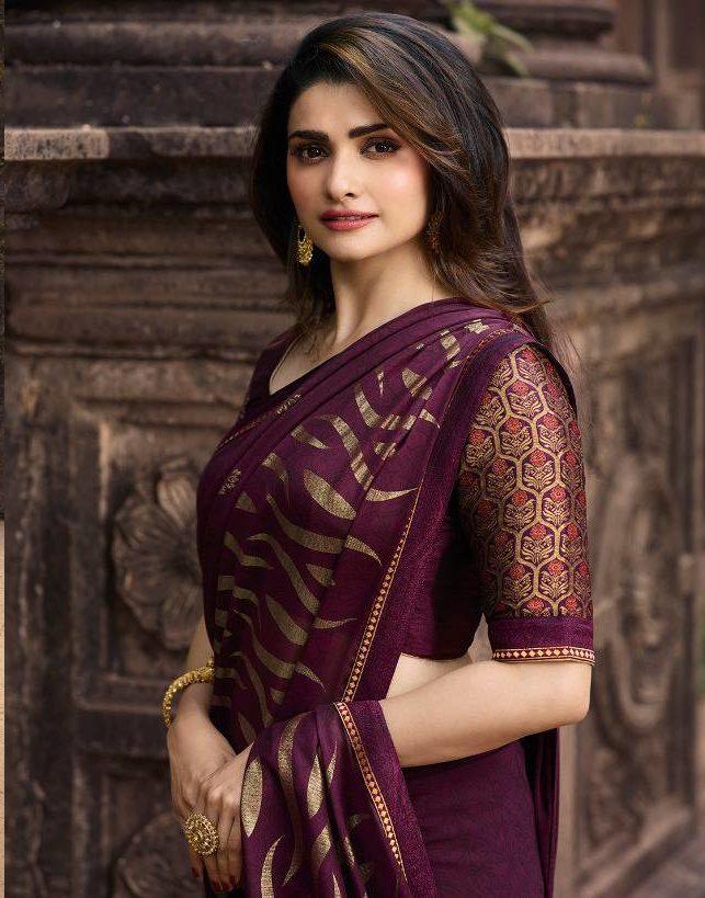 New Fashion Designer Prachi Desai Style Royal Saree in Jamun Colour