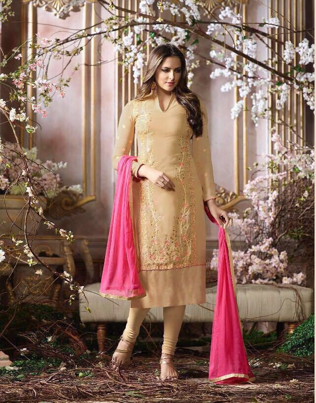 Cream Colour Heavy Embroidered Salwar Suits with Dupatta