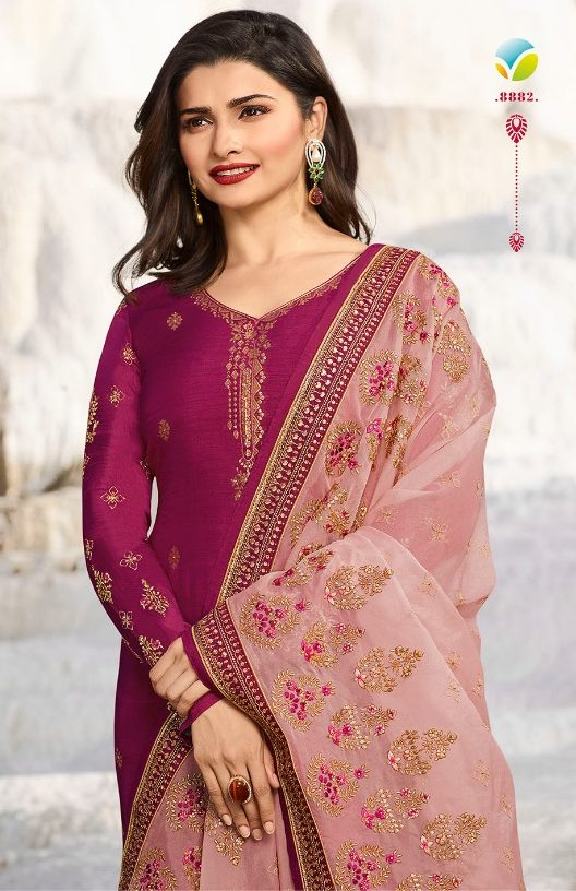 Plum Colour Georgette Salwar Suits in Heavy Embroidery with Heavy Dupatta