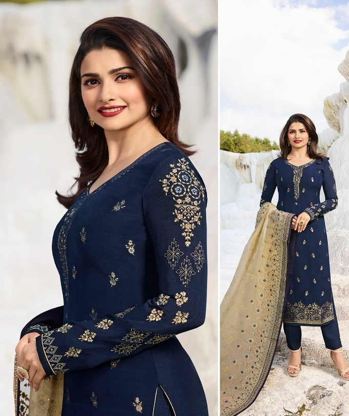 Steelblue Designer Embroidered Georgette Salwar Suits with Dupatta