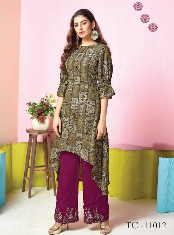 Yellow Green Long Kurta with Rosewood Embroidered Palazzo