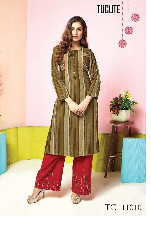 Khaki Colour Long Kurta with New Fashion Embroidered Red Palazzo