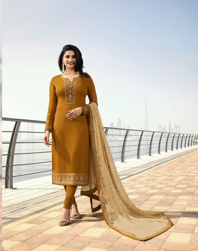 Ochar Colour Heavy Embroidered Salwar Suits with Contrast Embroidered Dupatta