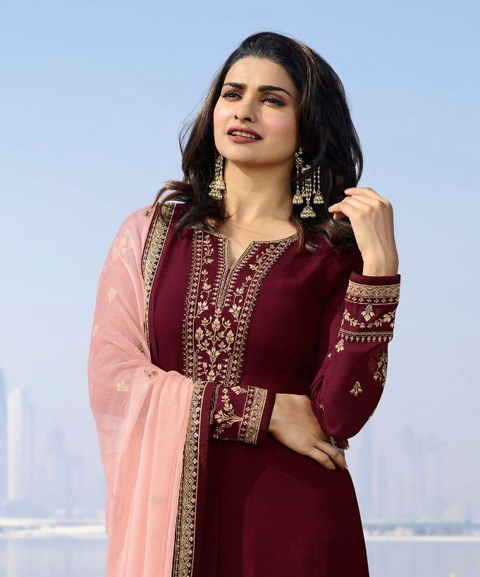 Heavy Embroidered Maroon Salwar Suits with Heavy Embroidered Contrast Dupatta