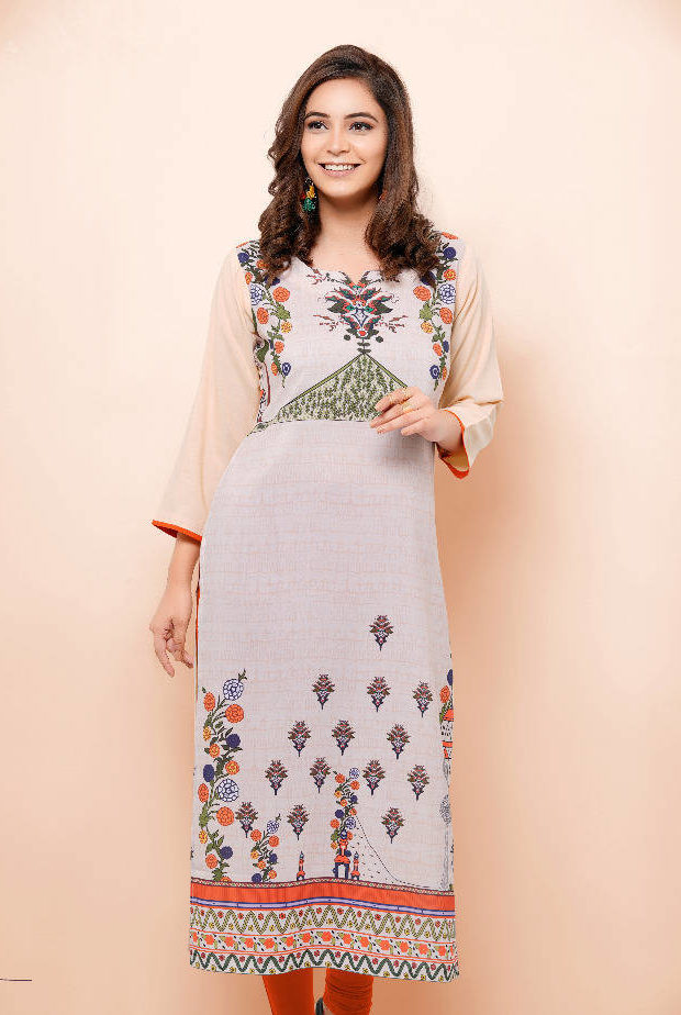Cream Colour Royal Designer Straight Long Kurti